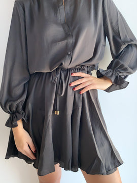 LONG SLEEVE CHARCOAL MIDI DRESS