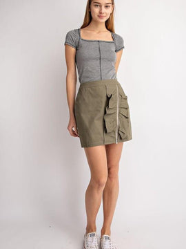 Detailed Olive Mini Skirt