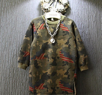 Camoflag side slit sweatshirt