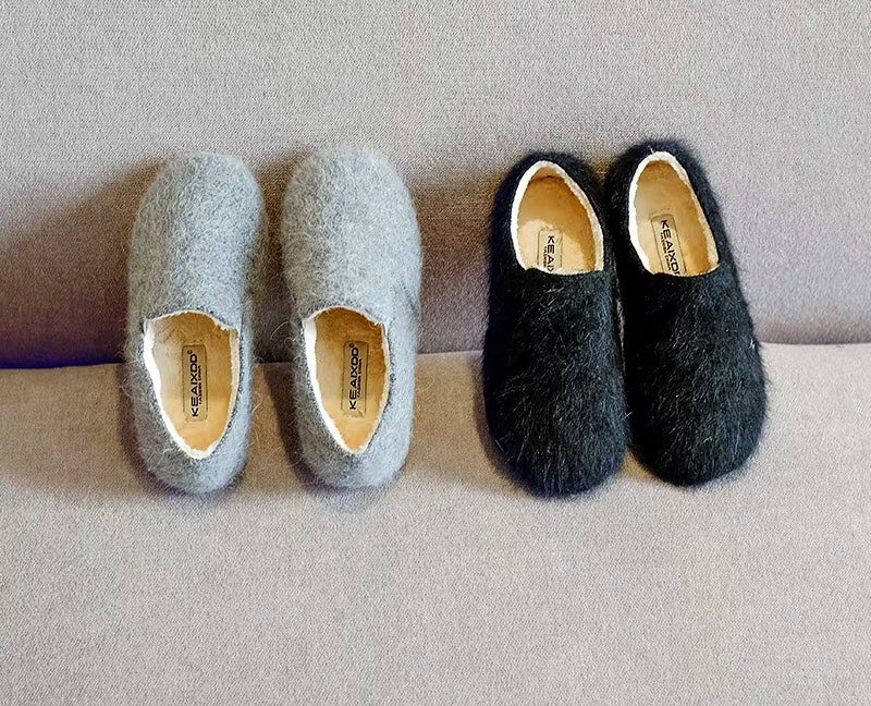 Fuzzy slip on shoes