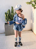 Crop denim jacket shorts set