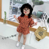 Summer Leopard tshirt shorts set