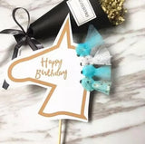Happy birthday tulle cake topper party decoration