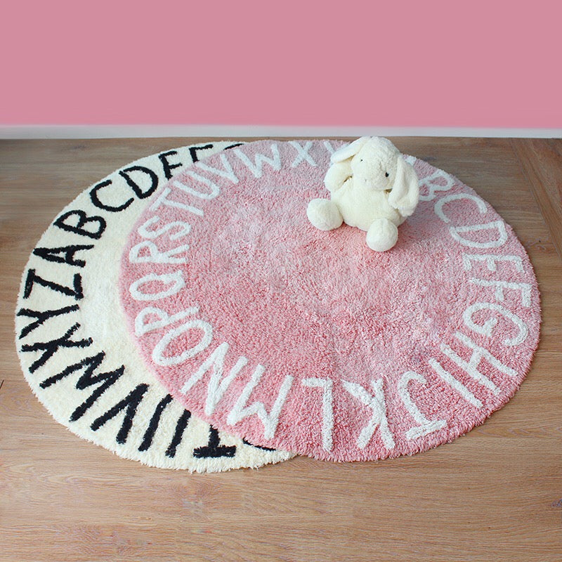 Alphabet round rug room decor