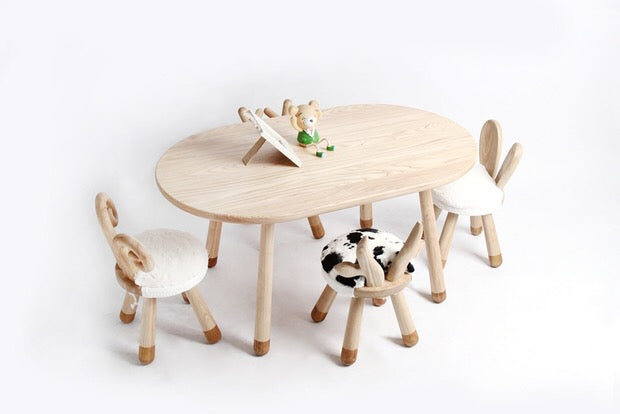 Wood Chairs Table Farm Animals