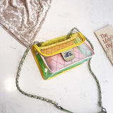 PVC flap bag with chain