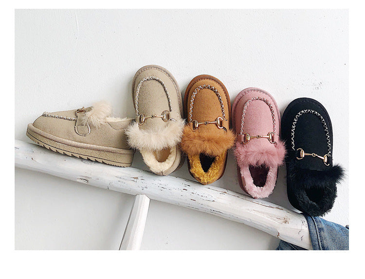 Shearling horsebit shoes