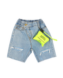 Ripped denim Short Neon Pouch