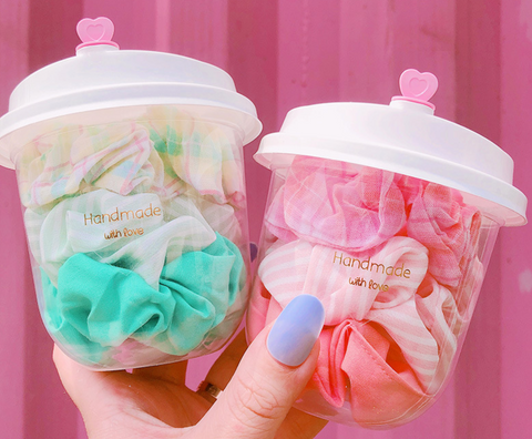 3 pieces scrunchies milk tea set