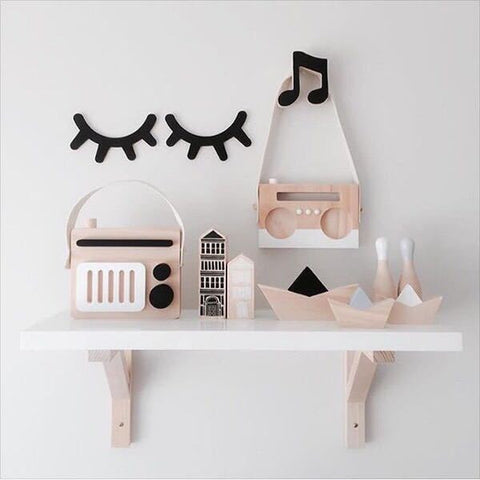 Room Decor Wood Eyelashes Wall Stickers