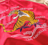 Tiger embroidery world tour long bomber jacket