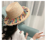 Straw fringe multicolor hat