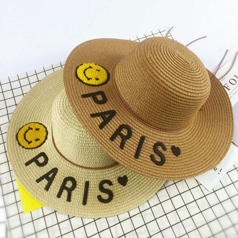 Paris embroidery summer straw hat