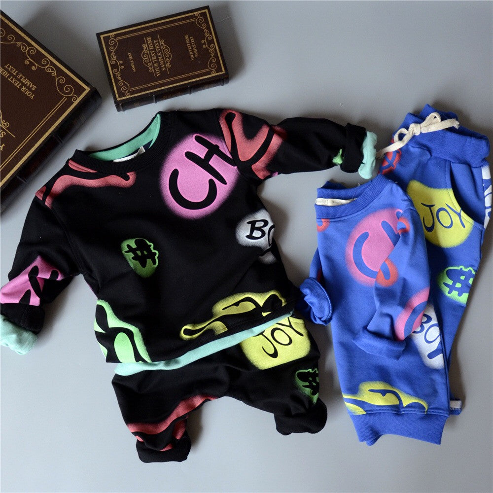 Graffiti peace joy $ sweater joggers set