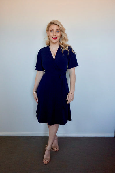 Navy Wrap Dress- pre order