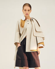 REPETITION Oversize Layered Collar Cotton Cape