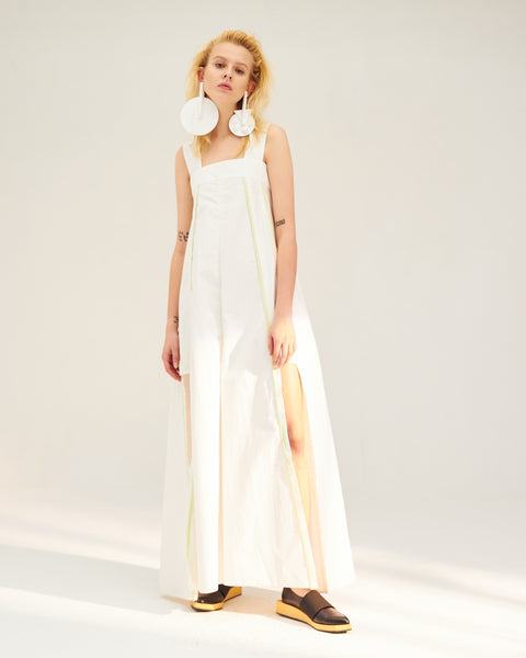 REPETITION White & Yellow Contrast Jumpsuit with Cut Outs