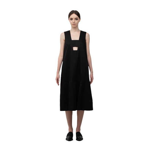 SEGUE Square Neckline Panels Straps Dress