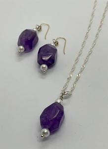 Amethyst Necklace and Earring Set