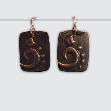 Rectangle Earring with Hand Embossed Floral Design