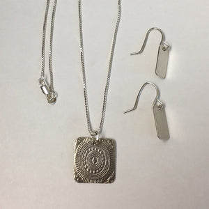 Silver Embossed Necklace and Earring Set