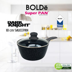 Sauce PAN 18 cm + glass lid, Granite BLACK Series