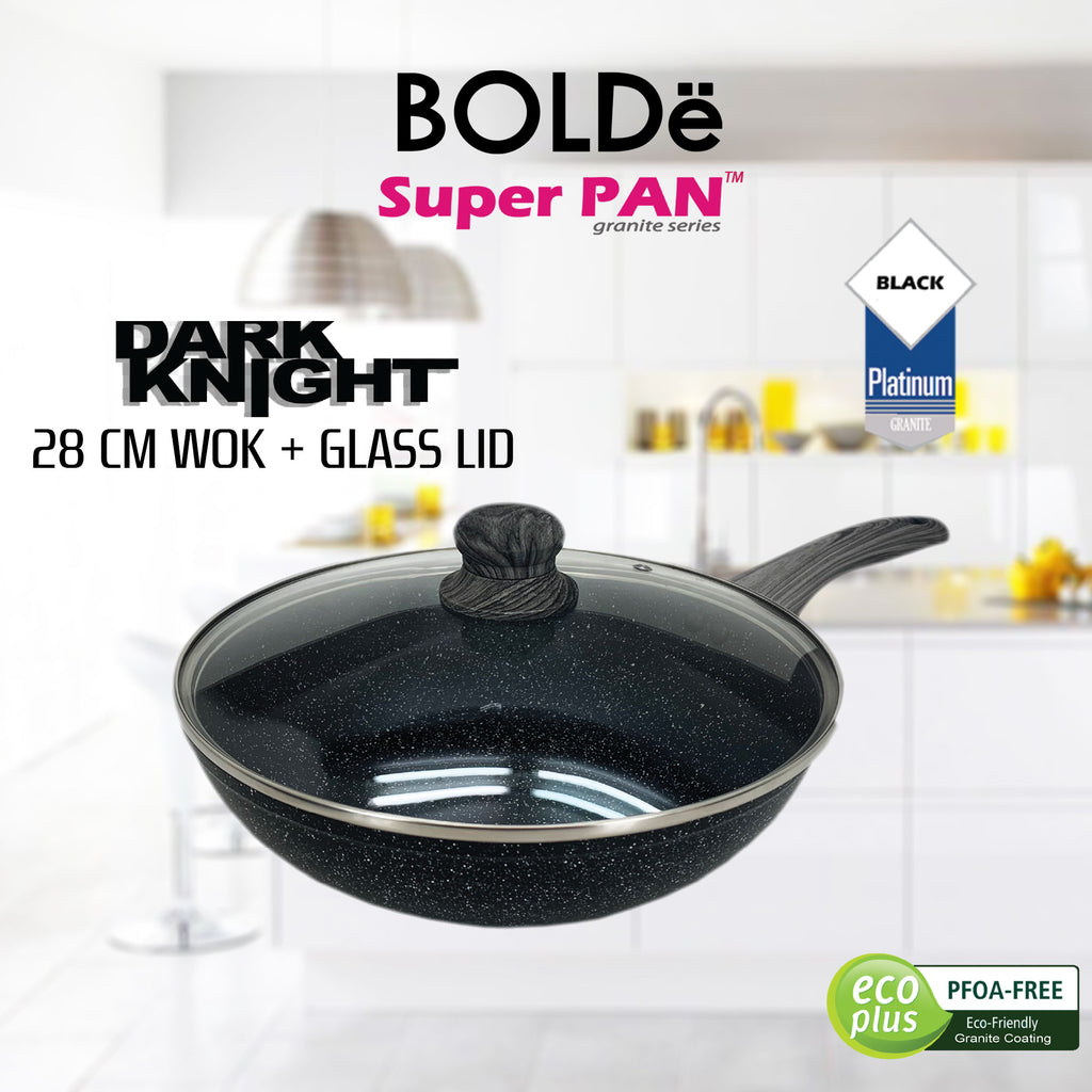 WOK ( WAJAN ) 28 cm + GLASS LID, Granite BLACK DARK KNIGHT