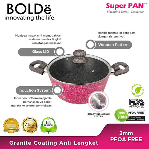 Casserole 24 cm, Granite BLACKPINK Series