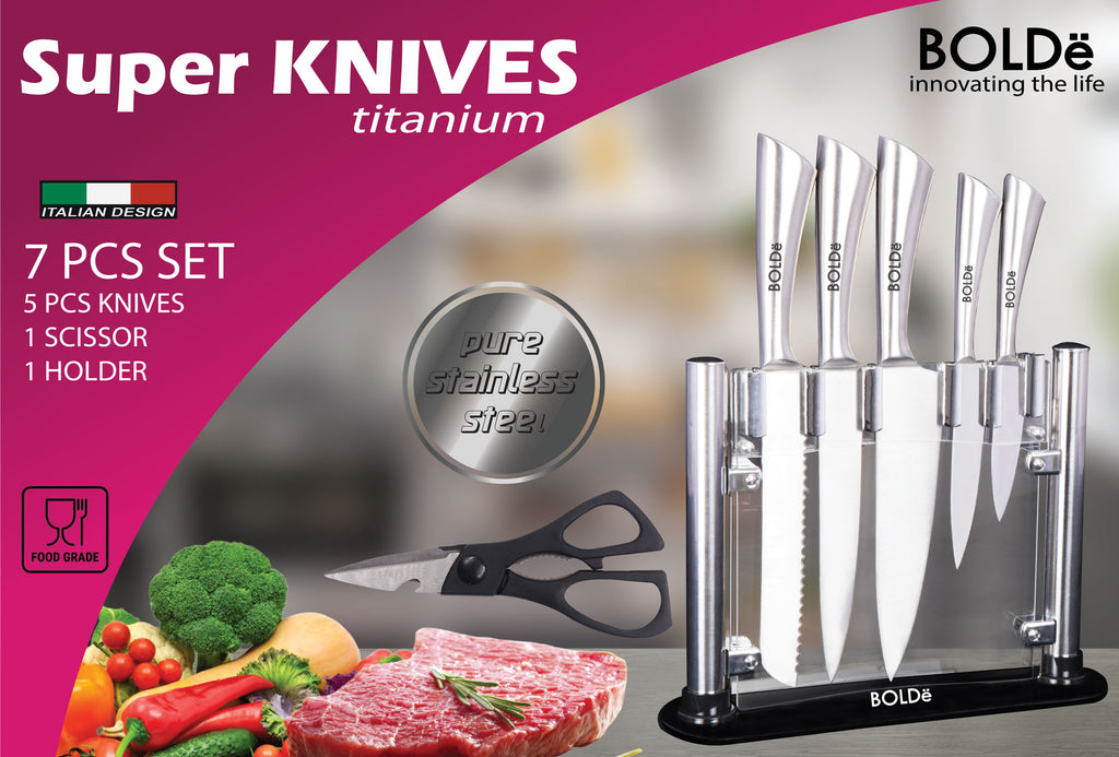 Super KNIVES TITANIUM 7pcs set Italian Design