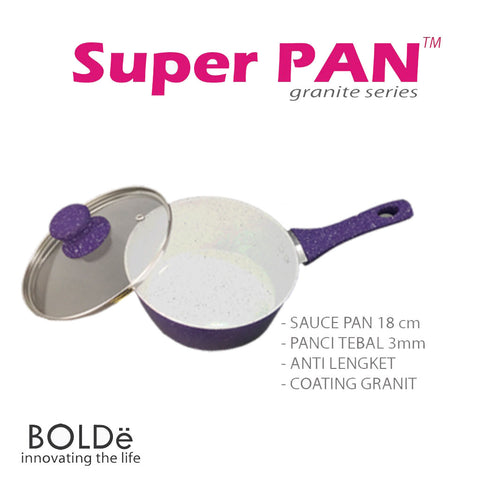 a Clearance SALE Sauce PAN 18 cm + glass lid, Granite Purple Series