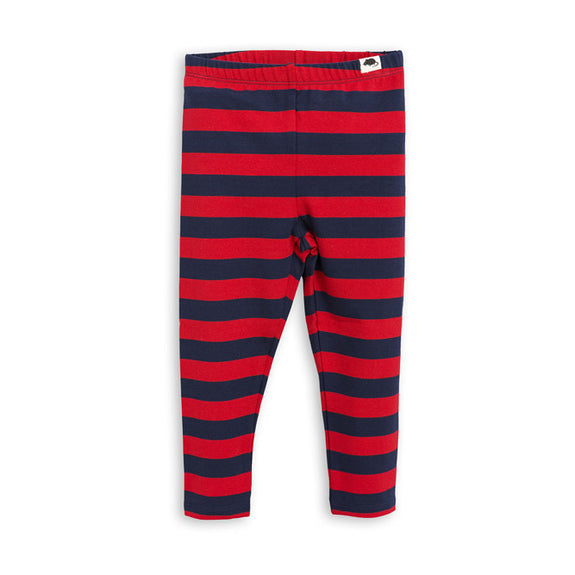 Mini Rodini Blockstripe LS Leggings, Blå Og Rød