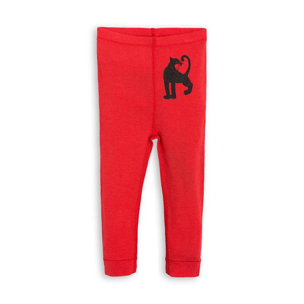 mini rodini leggins red rød merinould black sort panther panter