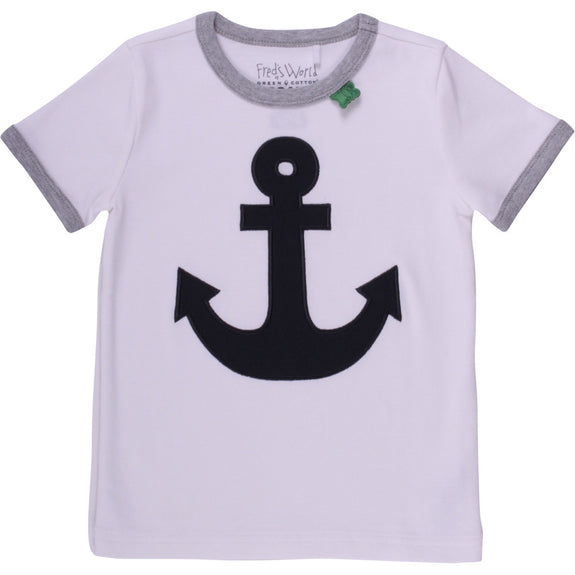 Fred's World Sailor T-shirt.hvid med blå anker