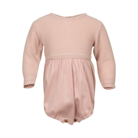 elodiee, laura romper soft knit & satin weave