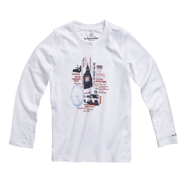 Ma locomotion Bluse, Hvid Med London City Print