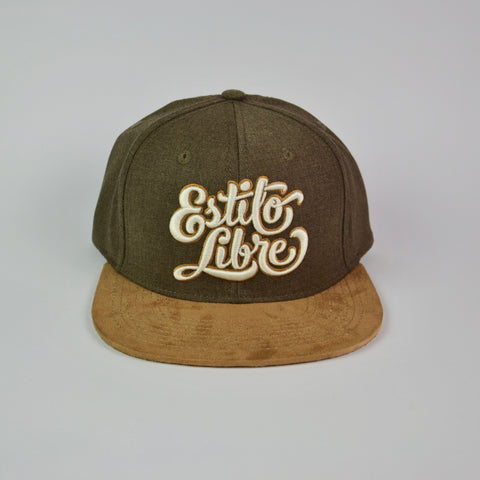 Snapback cap brown and suede