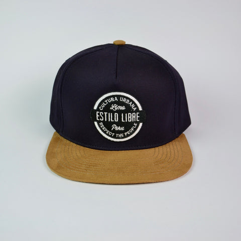 Snapback cap marine blue and suede