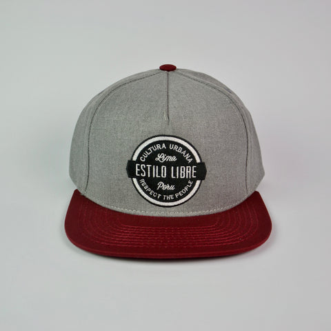 Snapback cap heatered grey and red