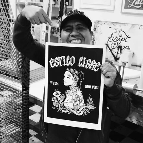 Limited Silkscreen print Tattoo Girl - Schahin x Estilo Libre