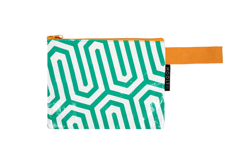 Green Geo Beach Zip Wallet