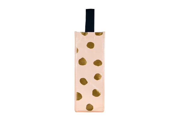 Beige Metallic Wine Bag
