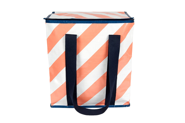 Peachy Stripe Cooler Tote