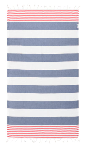 Rasberry / Navy Turkish Towel