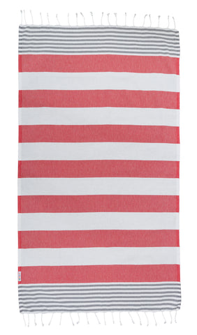 Ash / Raspberry Turkish Towel
