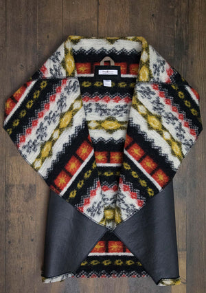 Reversible Black/Aztec - Short - Faux Leather & Boiled Wool Look