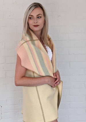 One of a Kind - Blanket Vest - Short - Vintage Cream Wool & Pastel Stripes - O/S