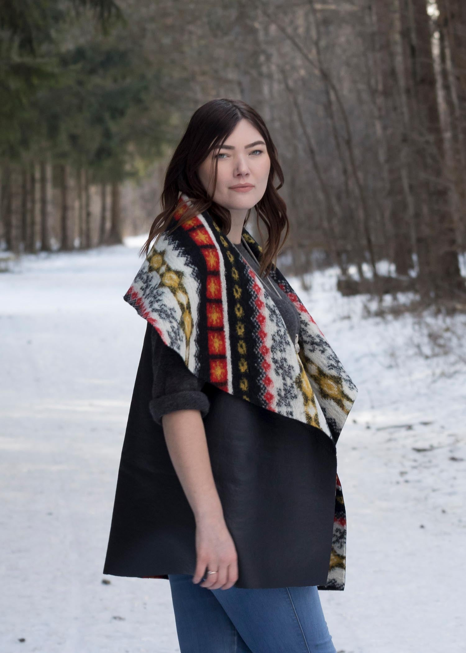 Reversible Blanket Vest - Long - Faux Leather & Boiled Wool Look - Red Yellow Black Red White