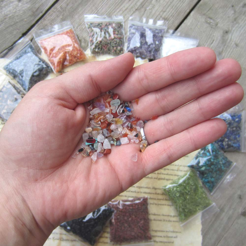 Set of 15 Crushed Crystals and Gemstones