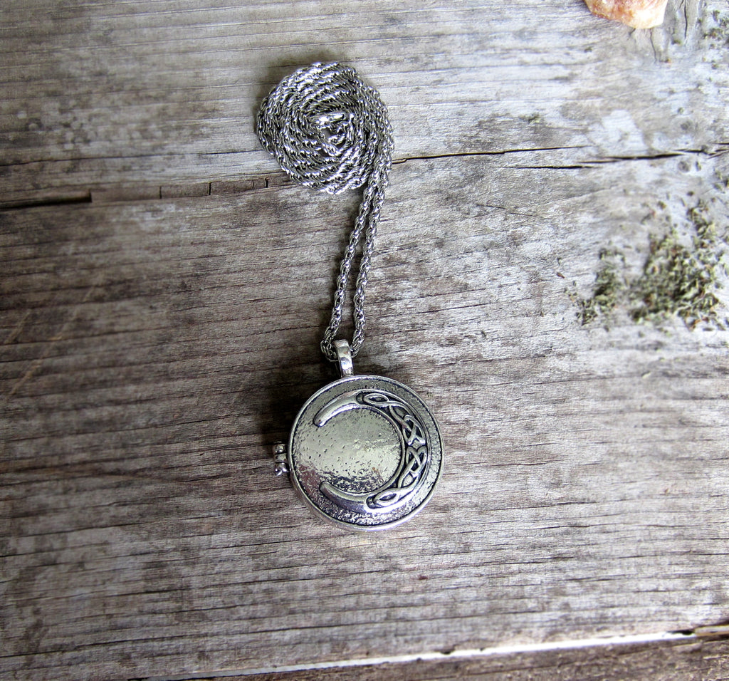 Crescent Moon Locket - White Moon Witchcraft