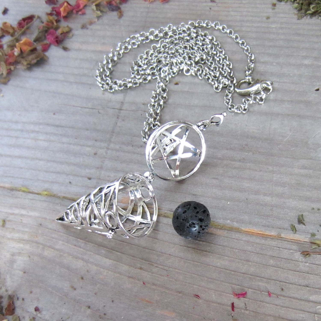 Pentacle Aromatherapy Necklace